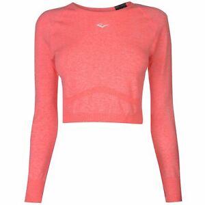 3b8fec59f34 Image is loading Everlast-Womens-Long-Sleeve-Crop-T-Shirt-Performance-