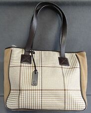 Ralph Lauren Classic Houndstooth Handbag Purse Medium Leather Trim Vtg Plaid