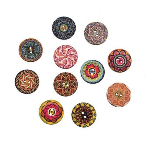 50pcs 2 Holes Mixed Boho Flower Wooden Button Sewing Scrapbooking DIY Craft