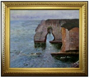 Framed-Claude-Manne-Porte-at-Etretat-Repro-Hand-Painted-Oil-Painting-20x24in