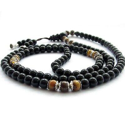 Black Glass Tiger Eye Gem Tibet Buddhist 108 Prayer Beads Mala Necklace