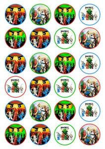 24 LEGO NINJAGO GREEN Cupcake Edible Wafer Paper Birthday Cake Toppers 1