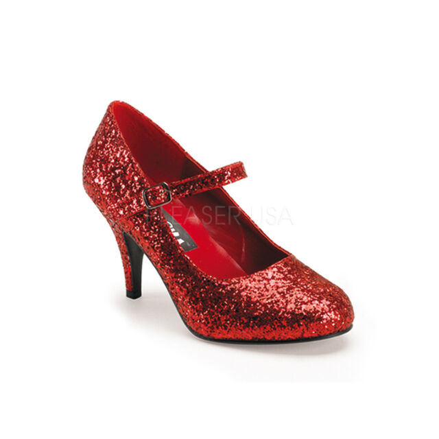 dd8a7b78155 Red Glitter Ruby Slippers Dorothy Wizard of Oz Costume Heels Shoes Woman 8  9 10