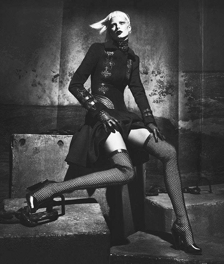 Nuevo Versace alto del Negro muslo Negro del Cuero Malla botas 41 - 11 52e1d9