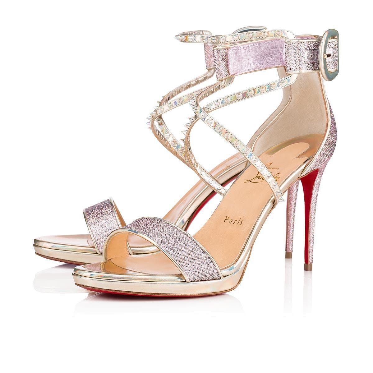 Nuovo Christian Louboutin Choca Lux Lupin Lurex  Sandals 100mm Heel Dimensione 38   US8  controlla il più economico