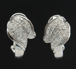 18k-White-Gold-0-82-TCW-Pave-Diamonds-Nature-Style-Modernist-Huggie-Earrings