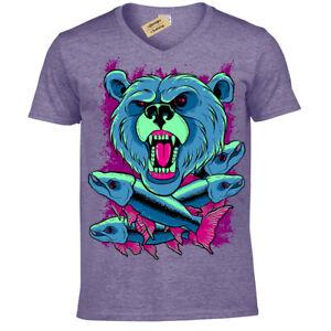 Grizzly-Bear-T-Shirt-Mens-V-Neck