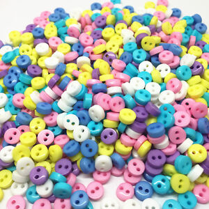 lot-Bouton-rond-6-mm-2-trou-Multicolore-Scrapbooking-Mercerie-couture-decoratif