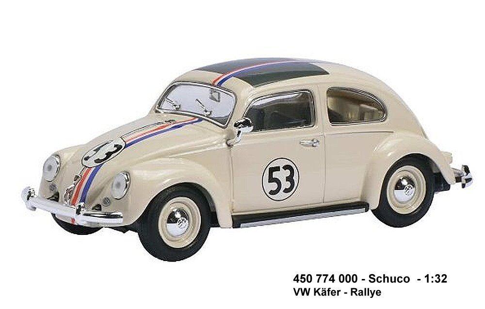 Schuco 450774000 -   VW Käfer 'Rallye 53,  Fb.white mit Farb-Streifen, 1 32 Neu