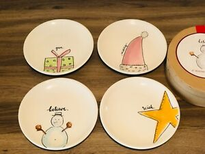 """Rae Dunn By Magenta M Exclusive stamped BELIVE 6"""" Holiday Plates, Set of 4 VHTF"""