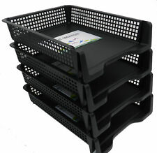 4 Tier Stackable Desk Black A4 Letter Tray Filing Document Organiser Form Paper