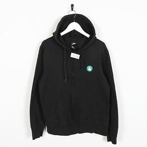 Vintage-ADIDAS-USA-Celtics-Small-Logo-Zip-Up-Hoodie-Sweatshirt-Black-Large-L