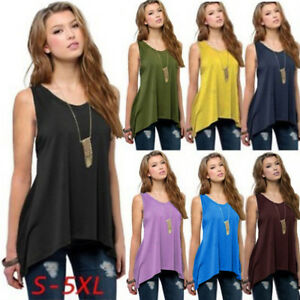 Women-Solid-O-Neck-Sleeveless-Plus-Size-Vest-Casual-Top-Tee-T-Shirt-Blouses-New