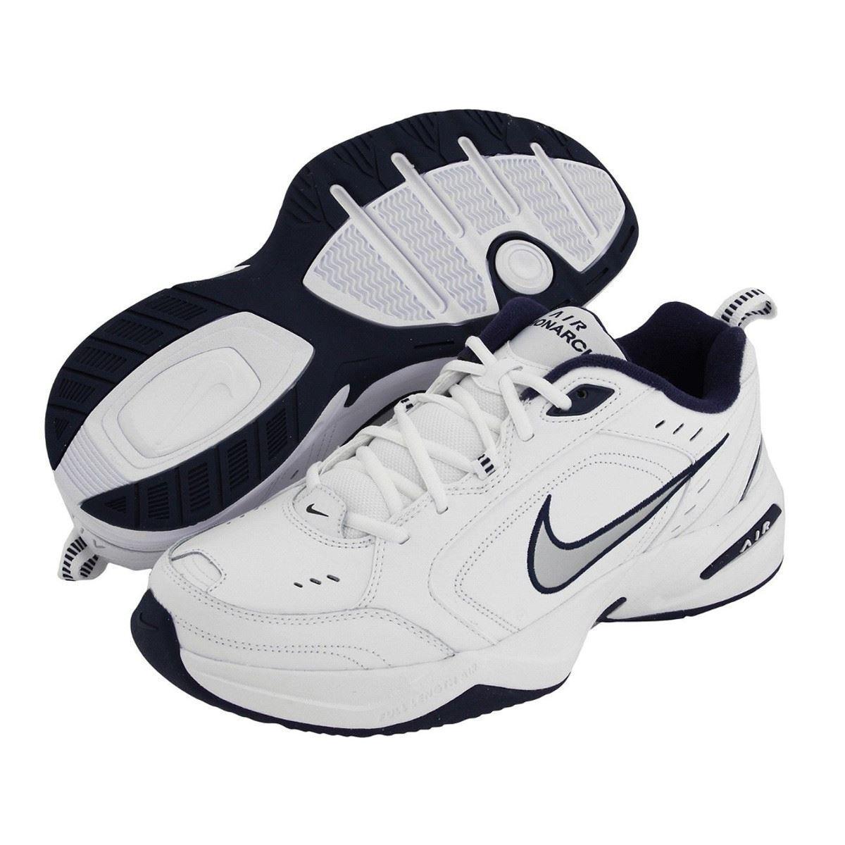 Nike AIR MONARCH IV Mens Weiß Silber Navy 102 Lace Up Running Training schuhe