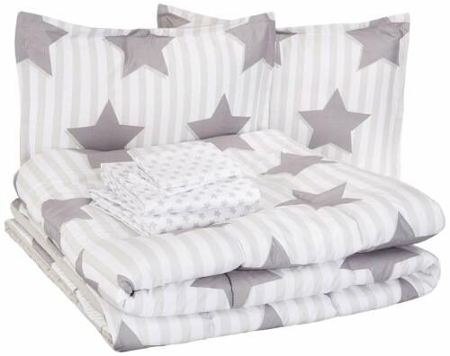 Twin Full Queen Bed Bag White Gray Grey Stars Striped 7pc Comforter Sheet Set