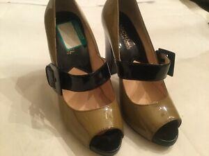 Michael-KORS-Heels-Sandals-Buckle-Size-6-5-Beige-black-Women-039-s-Open-Toe