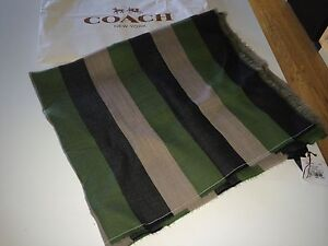 Nwt Coach Awning Stripe Oblong Scarf Black Green Amp Beige