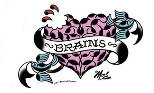 ZOMBIE BRAINS &HEART TATTOO SWALLOWS SURFBOARD STICKER/CAR DECAL  Mitch OConnell