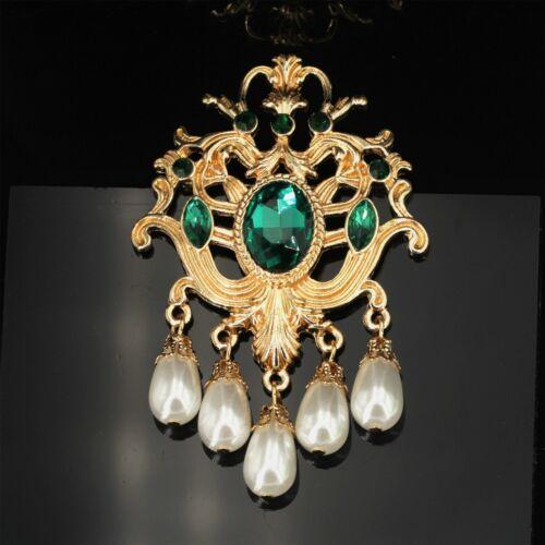 Broche Pin Gros Dentelle Vert Emeraude Tassel Perle Blanc Baroque Art Deco XZ7