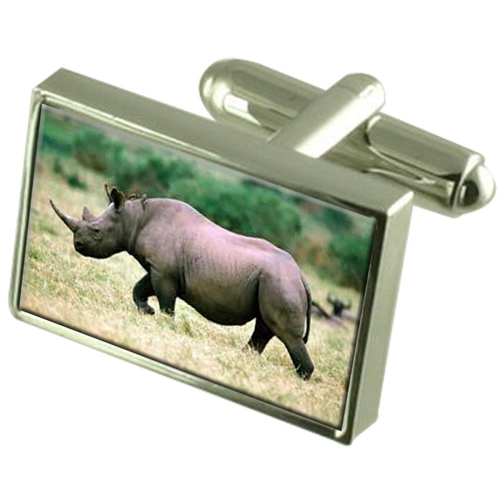 Rhino Rinocerontes Animal Gemelos /& Grabado Caja De Regalo