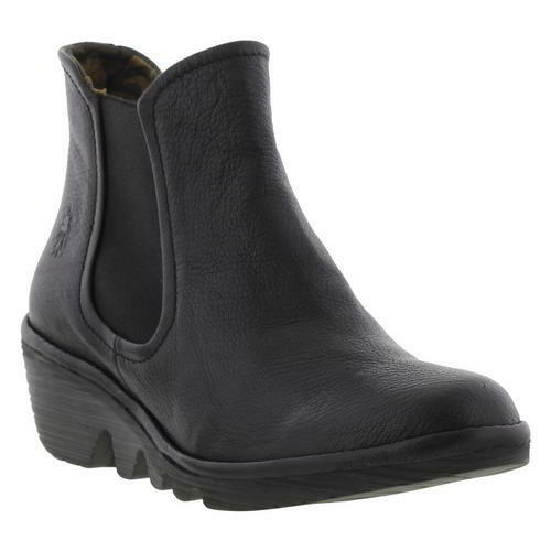 Fly   Phil Wo Wo Wo  Soft Black Leather Wedge Chelsea Ankle Boots Size | Discount  ff2f29