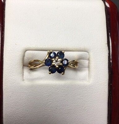 Precious 14Kt Yellow Gold Sapphire And Diamond Flower Ring