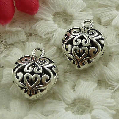 free ship 40 pieces Antique silver heart hollow charms 16x13mm #2707