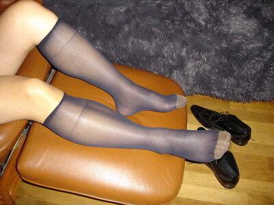 1 Paire Mi Bas Socks Sheer Bleu A Cotes Pointe Or Taille 39/46 Neofan Ref: V14 Prestazioni Affidabili