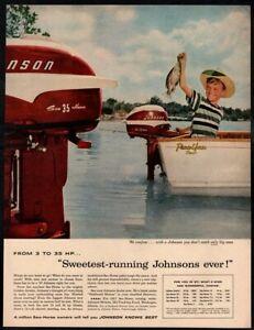 1957 Johnson Sea Horse 35 Outboard Boat Motors Fish Cute Kid Vintage Ad Ebay