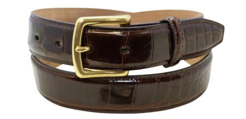 32MM Small Tile Naturally Distressed Glazed Brown Genuine Alligator Belt Size 36