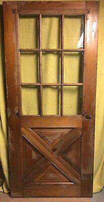 Unique Antique Cross Buck Wood Exterior Door /w Glass 36x80 9 Pane