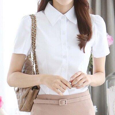 Women White OL Career Lapel Short Sleeve Solid Button Down Chiffon Shirt Blouse
