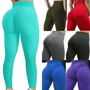 Women High Waist Yoga Leggings Ruched Sports PUSH UP Pants GYM Fitness Sportwear