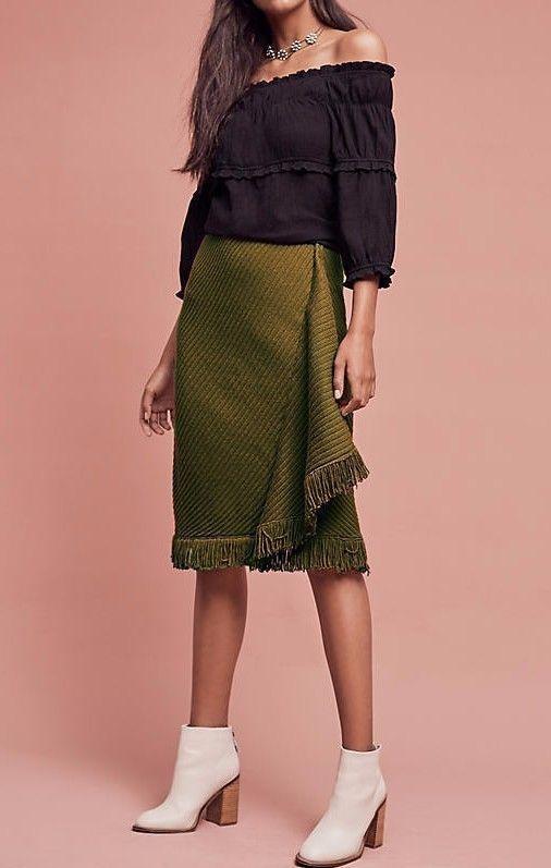 ANTHROPOLOGIE Rosie Neira Wrapped Fringe Sweater Skirt NwT M