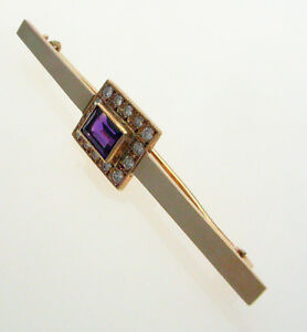 Antique Edwardian 9 Ct Gold Amethyst Bar Brooch Jewelry & Watches Fine Pins & Brooches