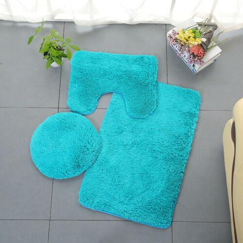 3pc Bathroom Set Rug Contour Mat Toilet Lid Cover Plain Solid Color Bathmats US