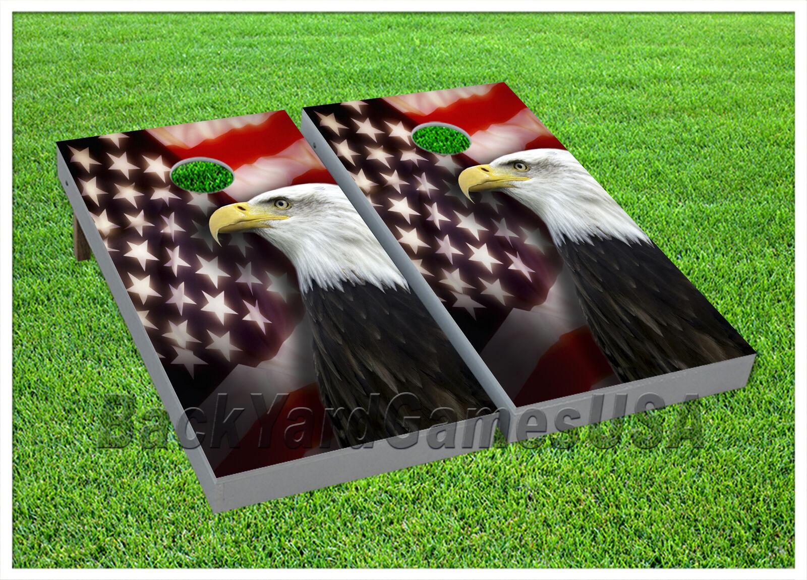 VINYL CORNHOLE BEANBAG American Flag Patriotic Flag Boards Wraps 1064