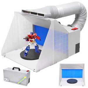 OPHIR 2 Sets of Airbrush Spray Booth Kit w LED Lighting Filter f Hobby Model