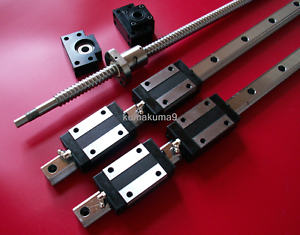 25mm-ballscrew-RM2505-1300mm-BK-BF20-end-bearing-25mm-Linear-Guideway-2-Rail-CNC