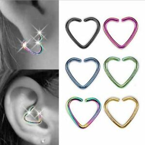 Surgical Steel Heart Ring Piercing Hoop Helix Cartilage Tragus Daith