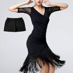 Women-Latin-Dance-Dress-Salsa-V-neck-Tango-Ballroom-Costume-Tassel-Rumba-Classic