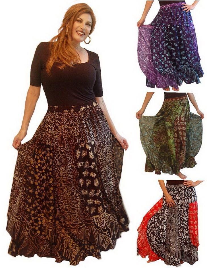 Pick Farbe & Größe maxi skirt patchwork layerot elastic waist art to wear