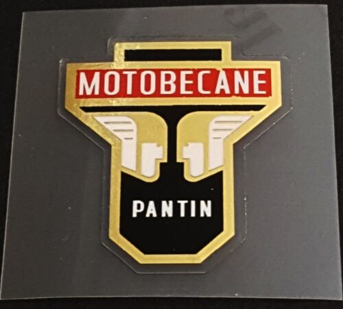 sku Moto708 White Mercury on Mirror Gold Motobecane Head Badge Decal