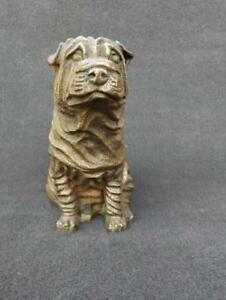 Chinese exquisite Old Handwork Carving copper Brass Personage Statue YU