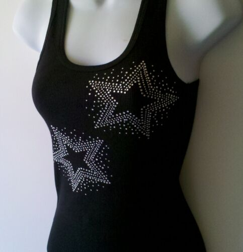 S,M,L,XL,2XL,3XLT SHIRT TOPS BLACKS SIZE NEW RHINESTONE TOP STARS  TANKTOP