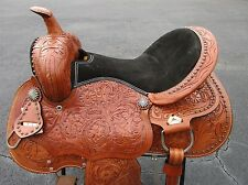 15 16 BARREL RACING SHOW PLEASURE TRAIL TOOLED LEATHER WESTERN HORSE SADDLE TACK