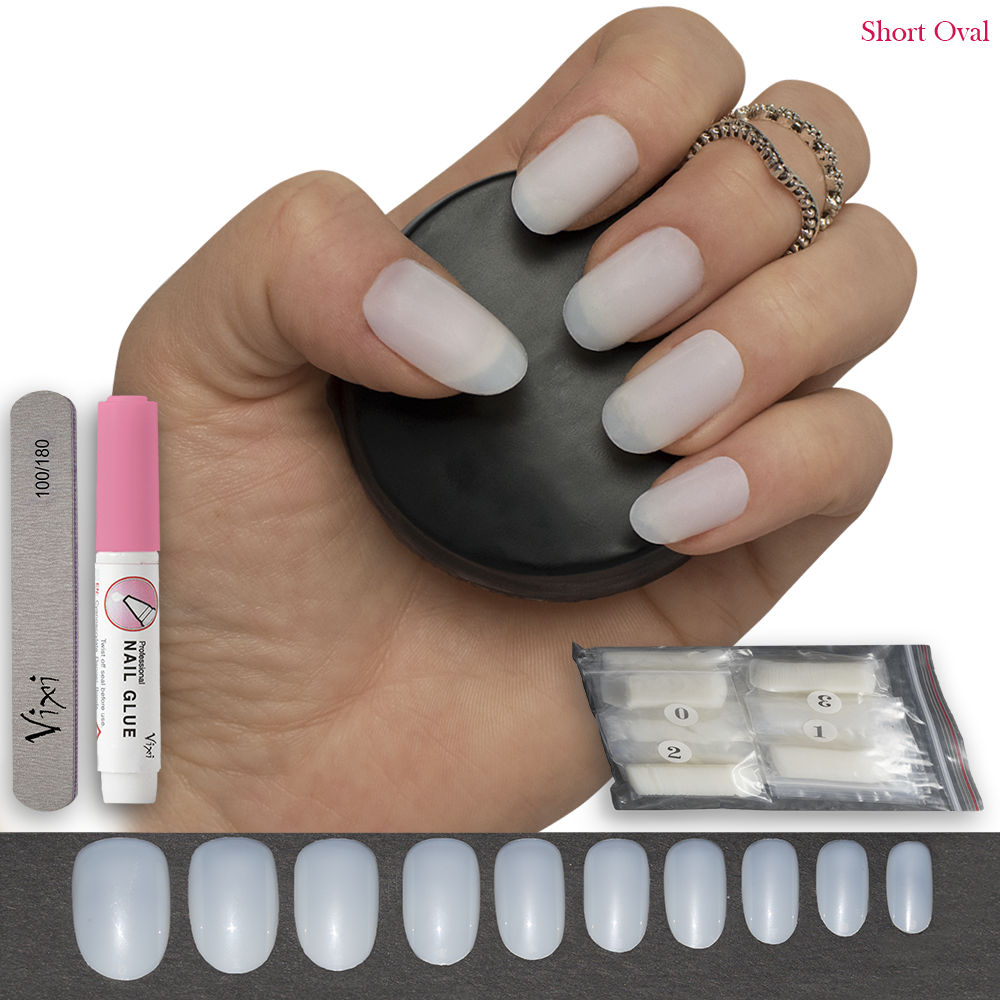 50x Short Oval Nails Opaque False Full Cover Natural Tips Free Glue Vixi