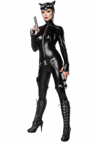 """6 pièces wetlook costume /""""Catwoman Batwoman batcat/"""" chats set overall Carnaval"""