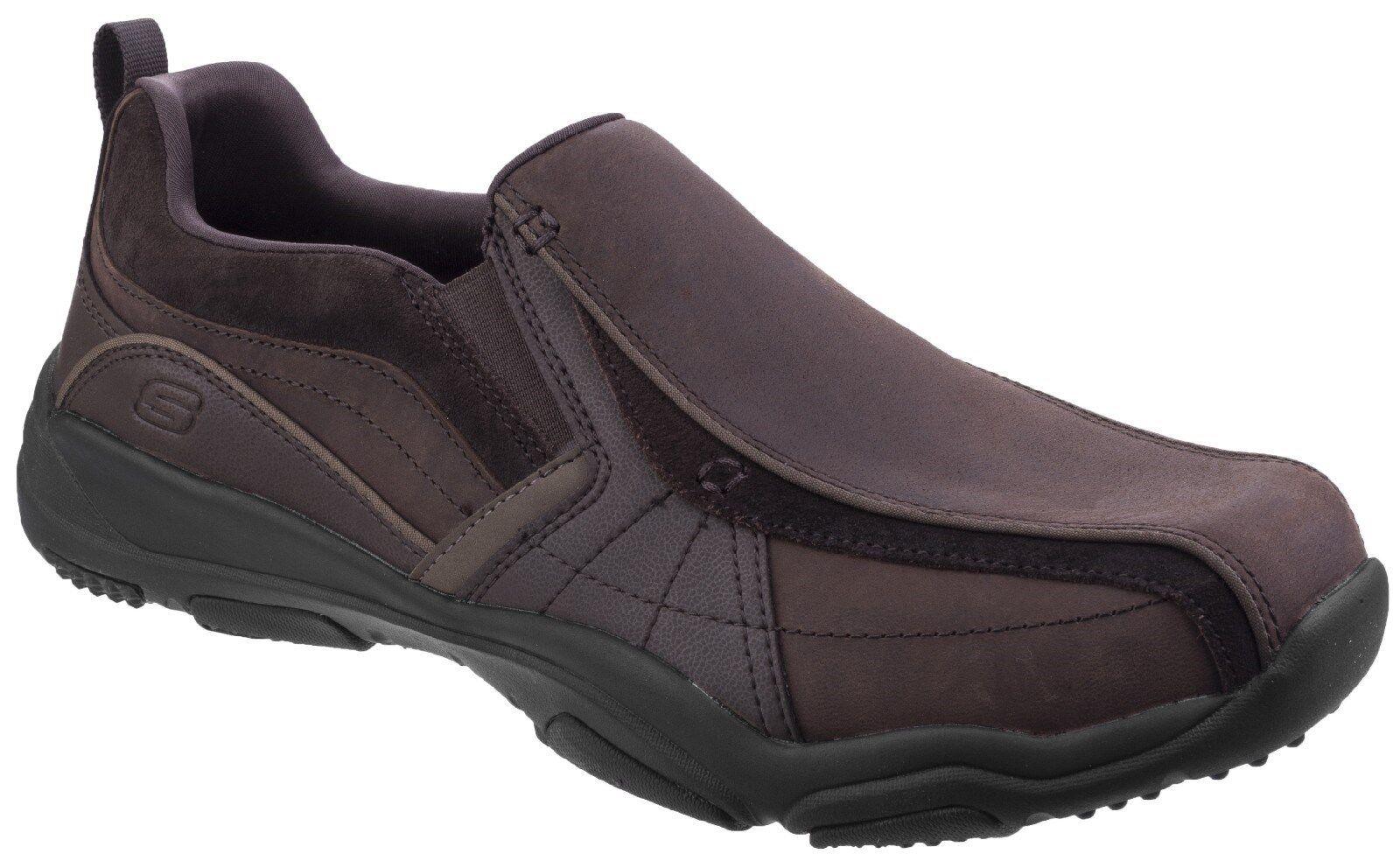 Skechers Larson Berto Leather Slip On Shoes Casual Leather Berto Memory Foam Loafers Mens 6e6d0e
