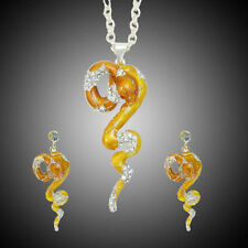 Viper Snake Necklace Earring Set Rhinestone Crystal Yellow Enamel Vivid Cocktail